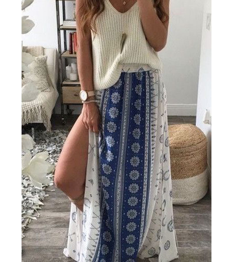 New 2017 Summer Cheap Casual Clothes Cheap Chiffon Fashion Bohemian Skirts Ethnic Style Clothing Thai Style Skirt Printing