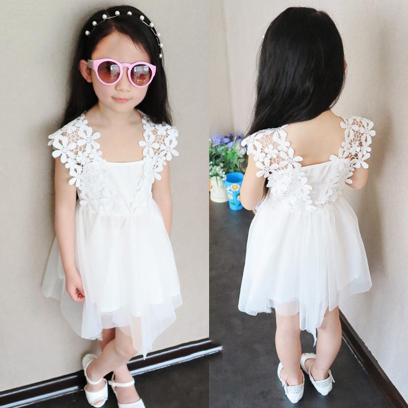 princess white girls dress summer design children's clothing girls lace sleeveless vest tulle dress baby girls dress A114(China (Mainland))