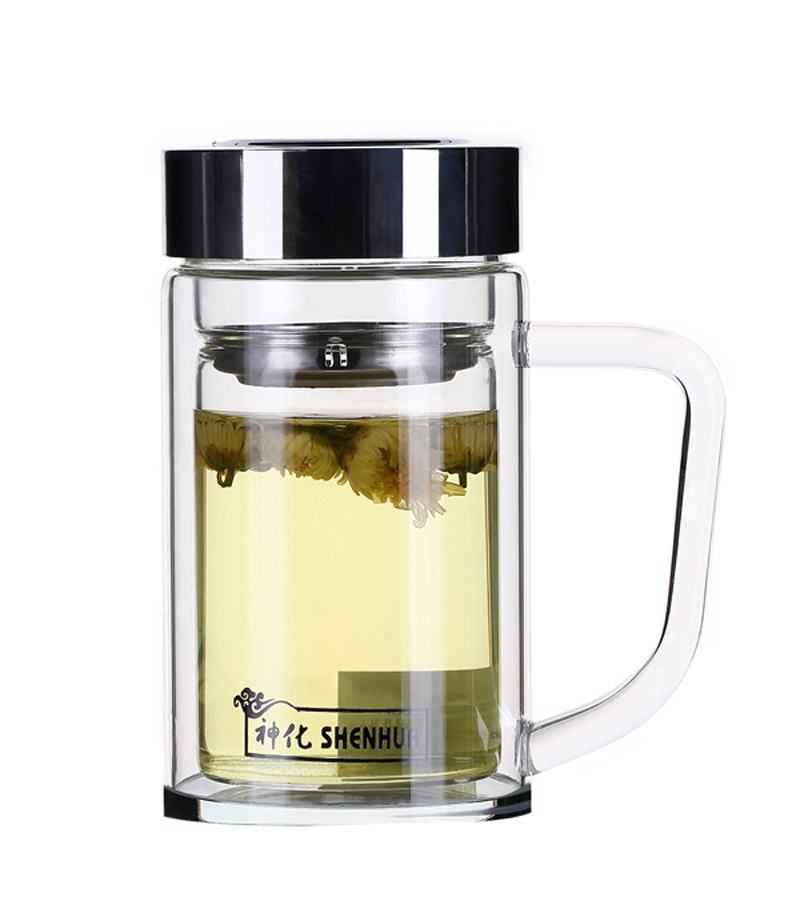 Healthy Tea Cup Portable Sport Travel Water Bottle 400ml Travel Mug With Handgrip Tea Infuser Glass Bottles SGS free shipping(China (Mainland))
