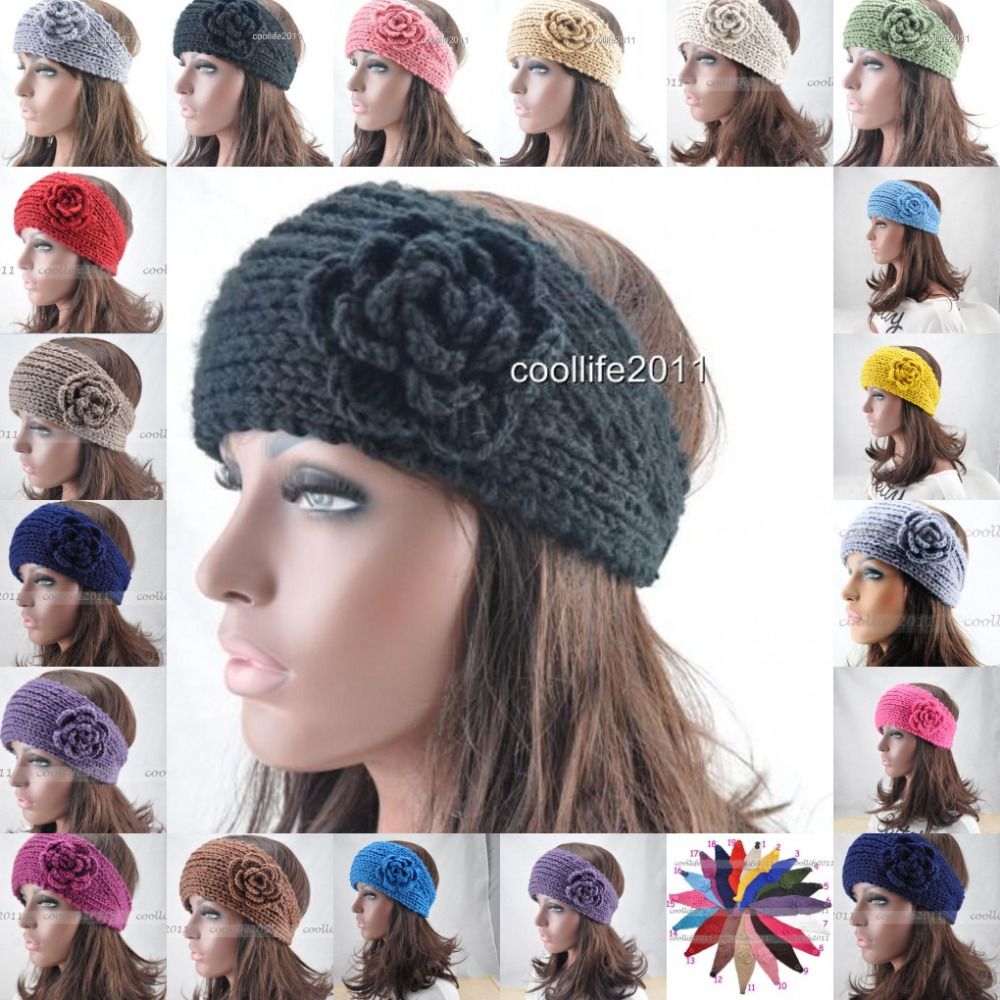 Free shipping, Women Crochet Headband Knit headband hairband Flower Winter Ear Warmer Headwrap(China (Mainland))