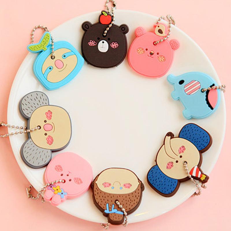 Kawaii Creative candy colors Cartoon Animal Silicone Key Caps Covers Keys Keychain Case Shell Novelty Item(China (Mainland))