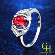 Luxury Ruby Jewelry 925 sterling silver rings for women CZ Diamond wedding rings anel feminino aneis