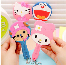 Kawaii Cartoon Animal Silicone Portable Hand Mirror Cosmetic Makeup Mirror(China (Mainland))