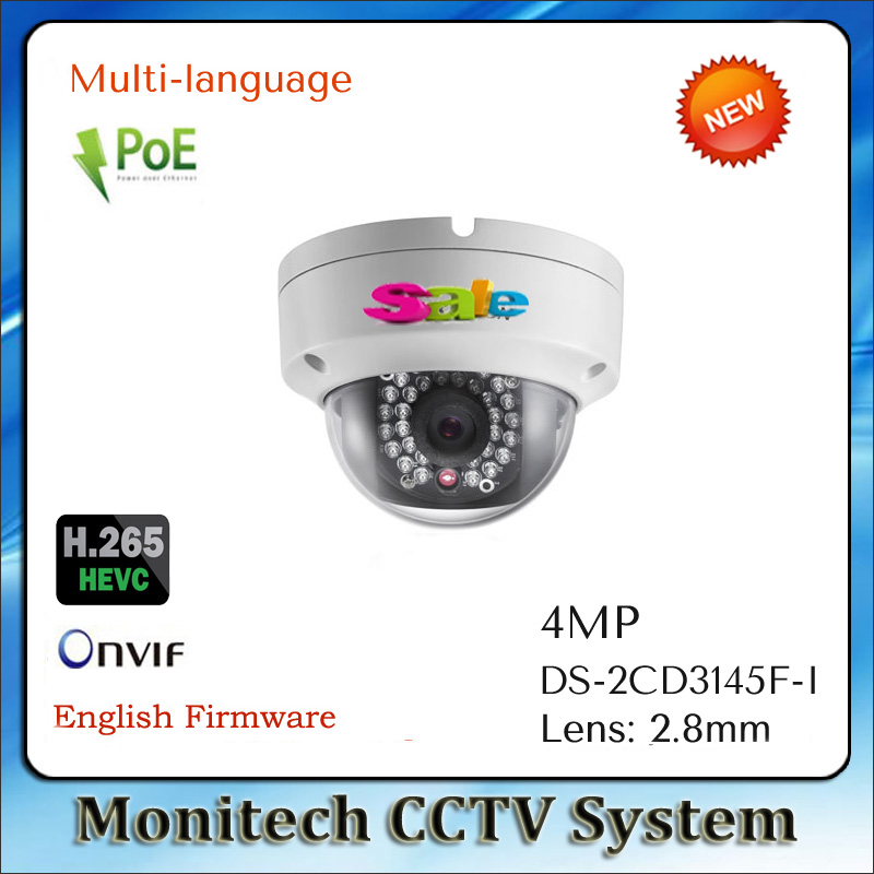 HIK Multi-Language DS-2CD3145F-I Support POE ONVIF Outdoor IP66 HD 4MP H.265 SD Card Slot IR Security CCTV IP Camera(China (Mainland))