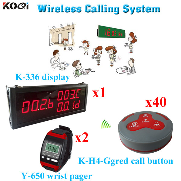 Factory Bell System Popular In Restaurant Pager 8 Line Alphanumeric Equipment (1 display 2 wrist watch 40 call button)(China (Mainland))