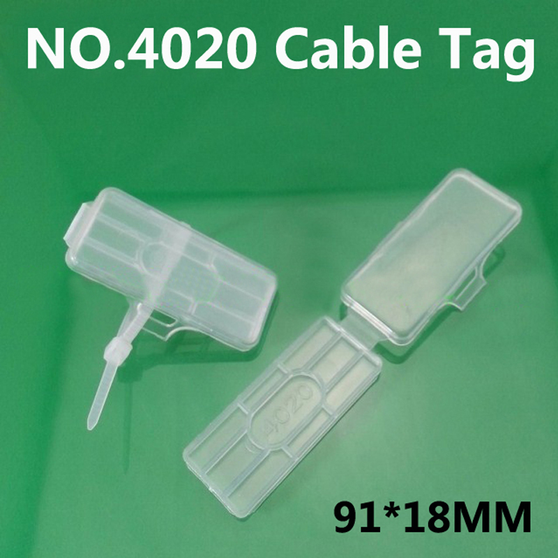 NO.4020 cable tag Cable ties Wire signage Cable signage Logo box Waterproof transparent 200pcs/lot(China (Mainland))