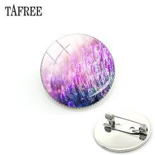 Tafree Baru Ungu Lavender Bros Lencana Kaca Seni Gambar Cabochon Dome Pin Bros Tas, Pakaian, dan Aksesoris AC41(China)
