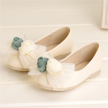 EMS free shipping 2013 girls shoes bow chiffon rose bag single shoes sweet ballet shoes spring and autumn(China (Mainland))