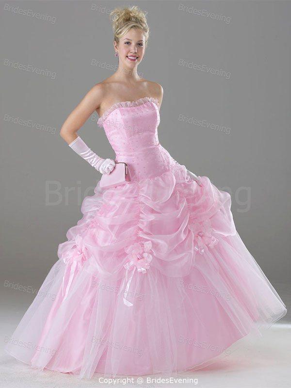 beautiful Pink Satin/Organza Soft Sweetheart Ruffle ...