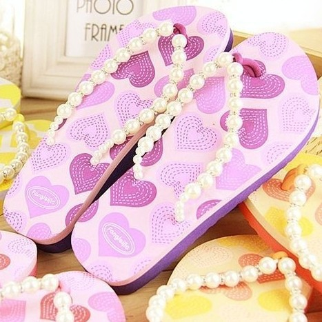2015 summer pearls cool word slippers Sandals beaches couples pinches Sandals cheap sale flip flops women free shipping(China (Mainland))