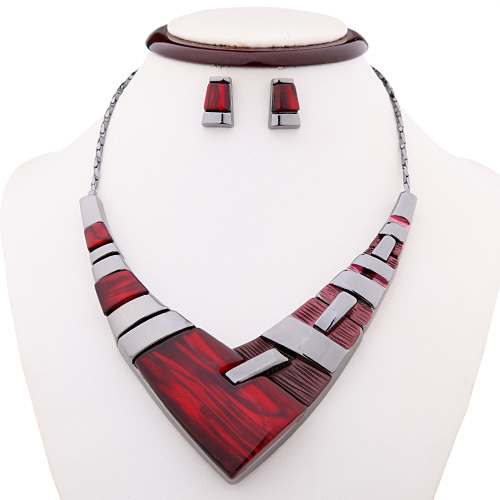 2015 Spring Red/Grey/blue Zinc Alloy African Jewelry Sets Women Black Plated Necklace Earrings - Forever Best store