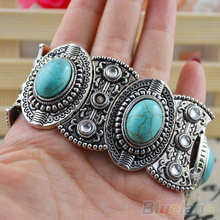 Classical Women's Retro Vintage Natural Turquoise Cute Tibet Silver Bracelet(China (Mainland))