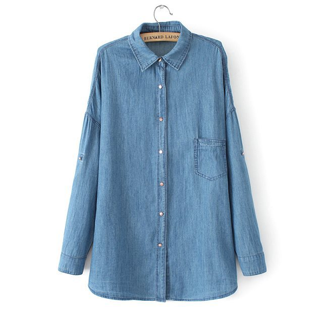 New brand style good quality women lapel pocket denim for Good quality long sleeve t shirts