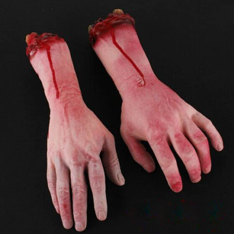 1X Bloody Fake Body Parts Realistic Severed Arm Hand Walking Dead Halloween Prop(China (Mainland))