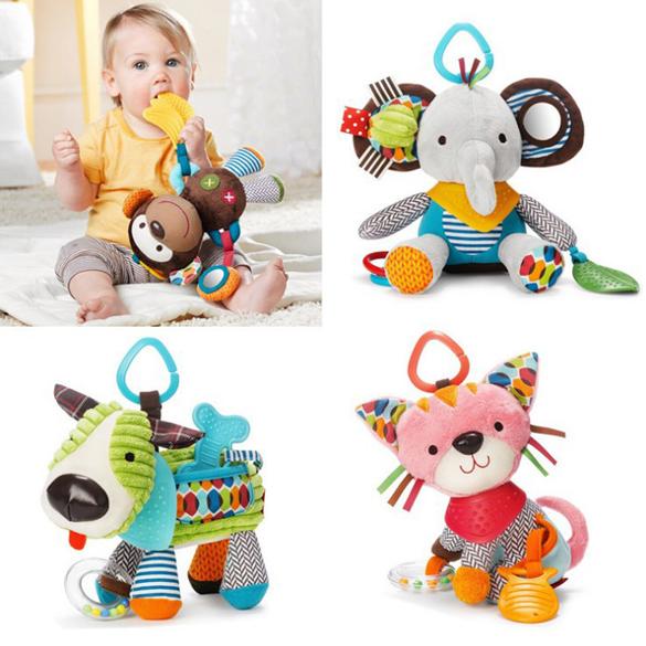 15cm*23cm Cute Cartoon Baby Toy Rattles Soft Comfort Plush Toy Animals Cat/Dog/Elephant/Monkey Baby Toys Doll Brinquedos #1JT(China (Mainland))