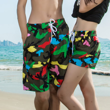 2016 new couple Green Camouflage board shorts Beach quick dry Pants lover summer swimwear women/men sport suit surf Z154