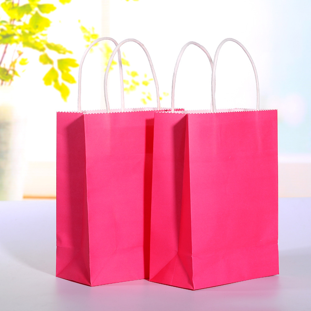 popular pink kraft paper bags buy cheap pink kraft paper bags lots 40pcs lot hot pink kraft paper bag handle wedding party favor paper gift bags