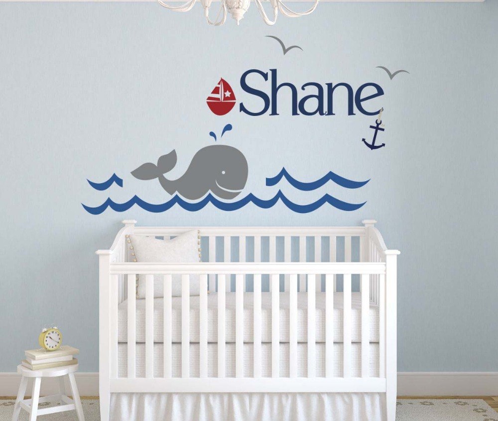 Custom whale name vinyl wall sticker home decoration for Baby name nursery decoration