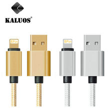KALUOS 25cm 100cm Metal Fast Charging Mobile Phone Charger Cable For iPad 4 Air 2 iPhone 5 5s 6 6s SE USB Data Sync Charge Wire