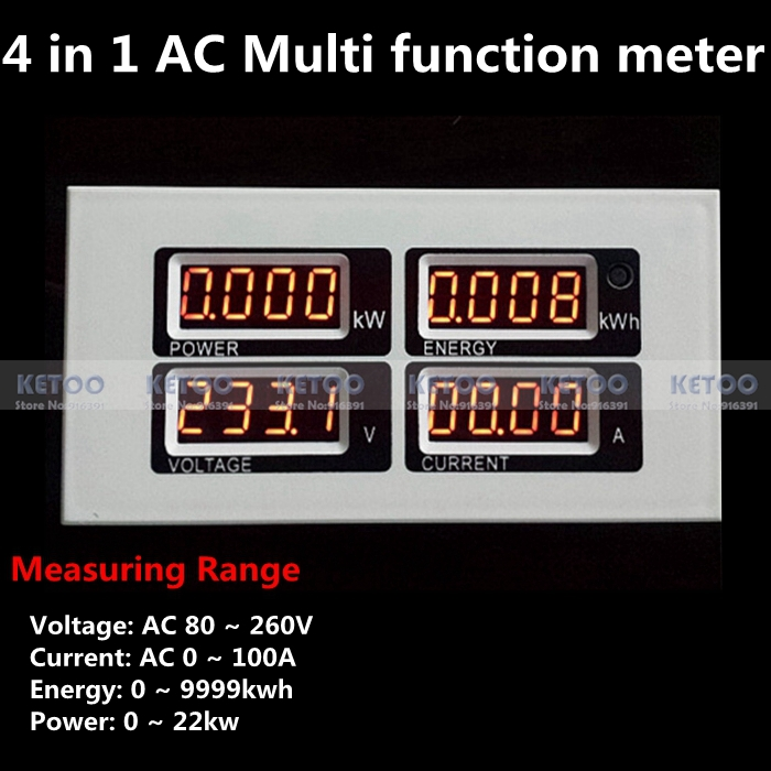 Digital AC 80 ~ 260V volt Voltage meter 100A amp Ampere meter 0-22KW power 0-9999KWh Energy meter with AC current transformer(China (Mainland))
