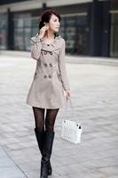 Осень новой корейской версии slim женщин кружева с капюшоном slim fit двойной грудью пальто и пиджаки windcoat wwf027