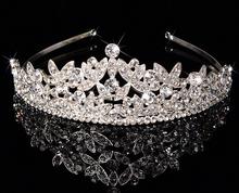 Popular princess silver hair crown Wedding bridal crown and tiara headband bridal crystal tiara in stock!(China (Mainland))