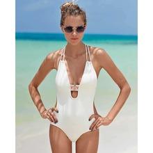 Buy One Piece Swimwear Sexy Women's Monikini Swimsuit Beach Wear Maillot De Bain Summer Black White Swimsuit Plus Size 2XL for $8.74 in AliExpress store