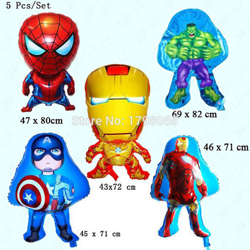 5PCS/LOT Foil Balloons Super Heroes Avengers Cartoon New 2016 Happy Birthday Wedding Party Supplies Decoration kids Toys Fashion(China (Mainland))