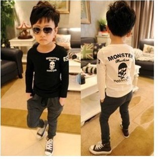 Girl Boys skull T shirt printing 5pcs/lot kids clothes black white childrens tops(China (Mainland))