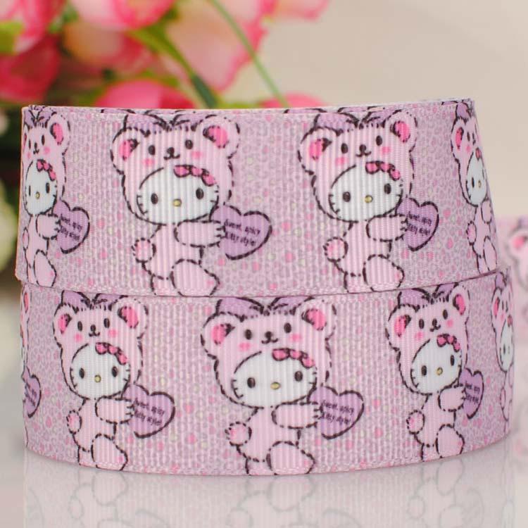 "ruban 1"" kawaii hello kitty tape cartoon Printed Grosgrain satin softball Ribbon DIY wedding handmade fabric hair accessories(China (Mainland))"