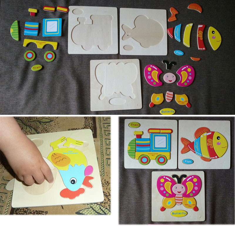 Kids Carton Puzzle Board Animals/Car/Fruit Wooden Baby Educational Toys  Games Picture Jigsaw Blocking Toys For Children Gifts   Us317