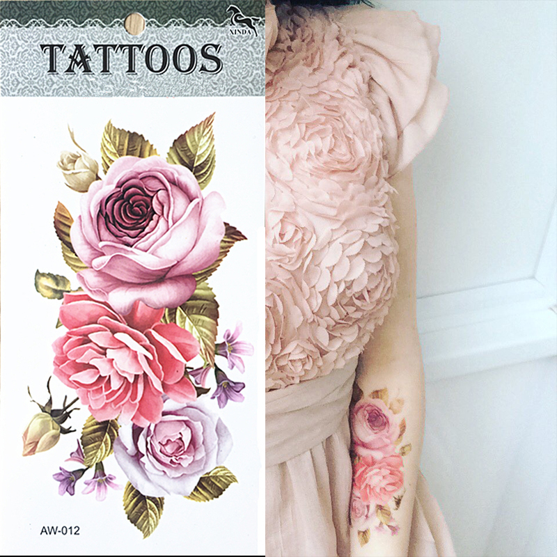 Hot 3D tattoos one time temporary tattoos Arm flower tattoo waterproof female body art tattoo model