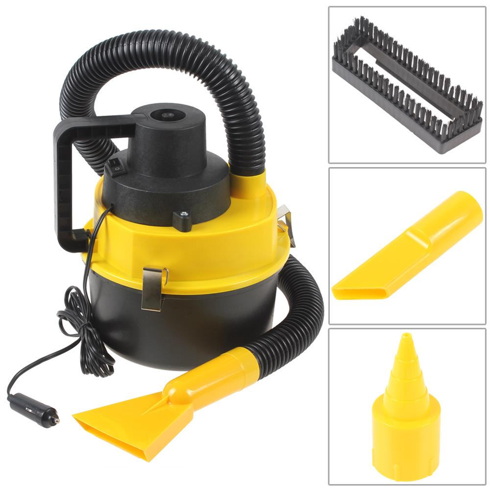 High Efficiency Wet Dry Car Vacuum Cleaner Handheld Mini Auto Car Dust Vacuum Cleaner With Brush / Crevice / Nozzle Head(China (Mainland))