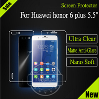 Nelanz Brand 5.5 Inch Screen Protector Matte / Super Clear / Nano LCD Protective Flm For Huawei Honor 6 Plus 6X (Front +Back)