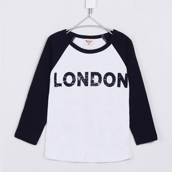 2015 Autumn and Winter Child Clothing Girls T-Shirts London Letter Printed Kids Casual STyle Long Sleeve Tee A0715