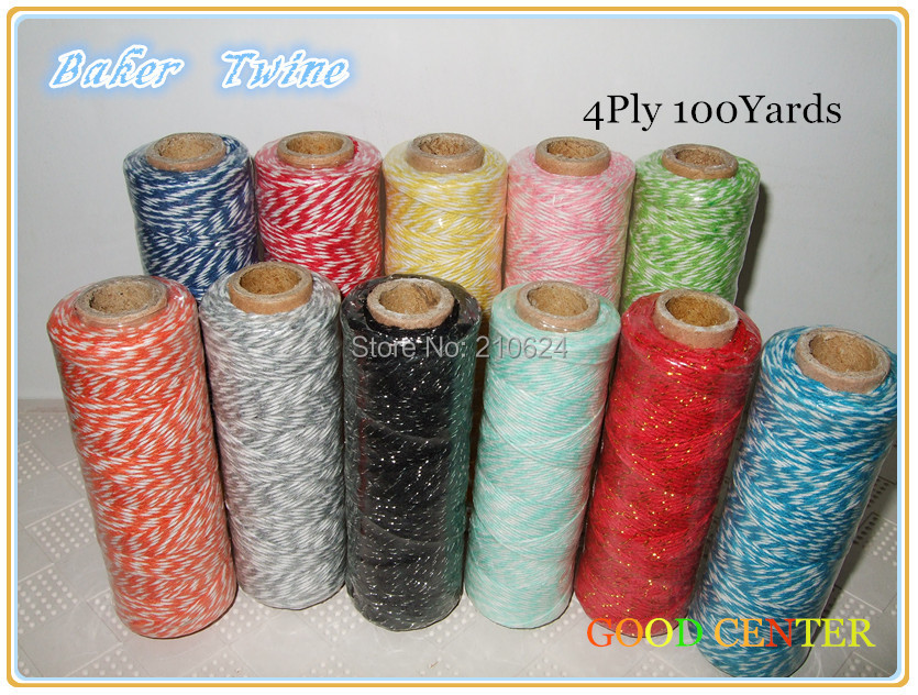 4PLY Bakers Twine 100 yds- Choose Color: Red, Hot Pink, Strawberry, Khaki, Brown, Black, Purple, Lavender, Daffodil, Blue, Mint(China (Mainland))