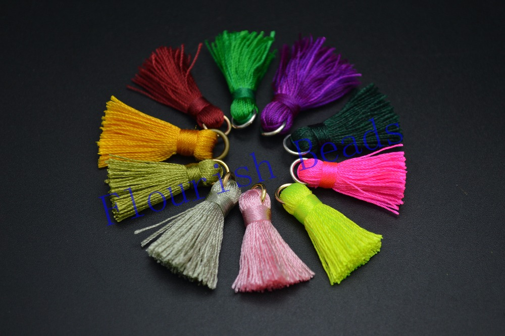 High Quality Mix Color Small Size 30MM Silk Cotton Tassel Charm Pendant Fit Vrrious Jewelry Making Materials Free Shipping(China (Mainland))