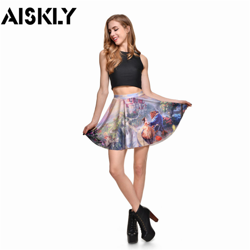 Aiskly Summer Style 2016 Sexy Women 39 S Fashion Beauty Beast Romance Skater Skirts Limited Digital