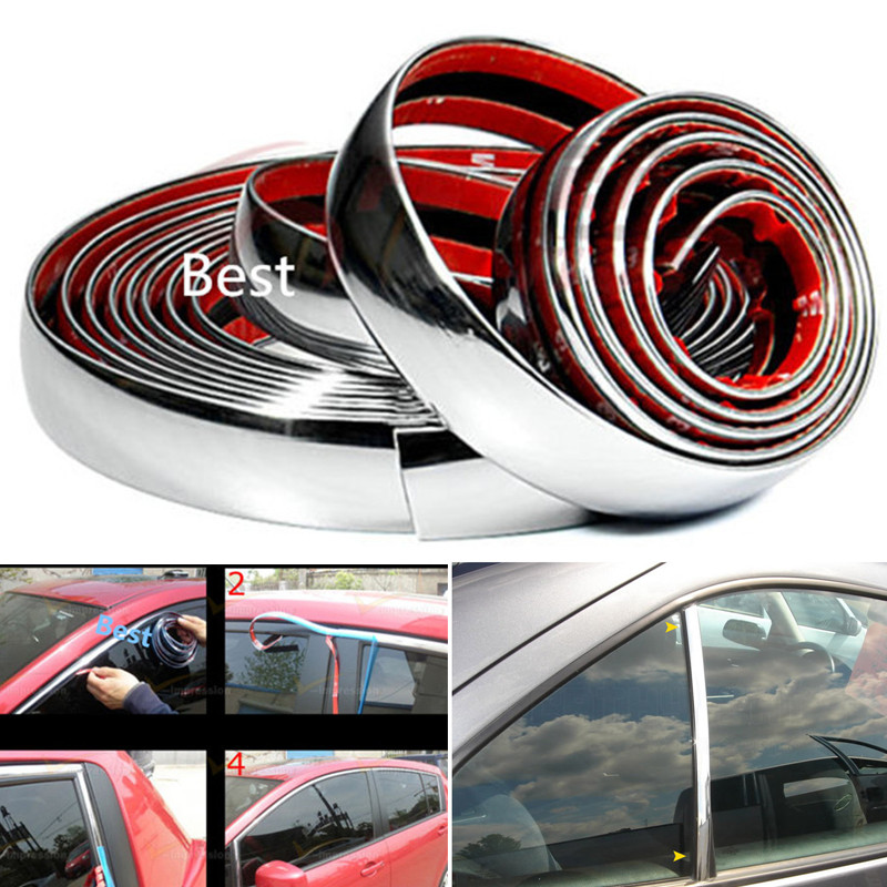 New 5M DIY Car Styling Chrome Moulding Trim Strip Silver Decoration Sticker 6mm / 8mm / 10mm / 15mm / 20mm / 22mm / 25mm / 30mm(China (Mainland))
