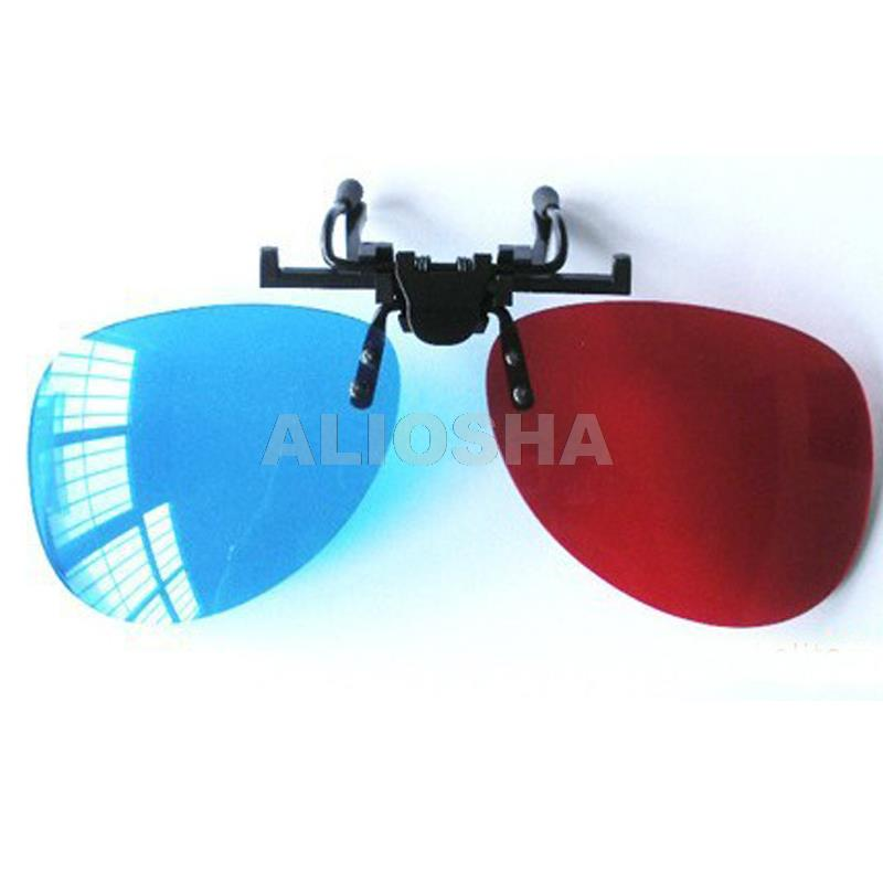 Order Red Blue Spectacle Clip 3D Dimensional Glasses for 3D DVD Home Theater Movie Cinema Spectacle Clip For Reading Glasses(China (Mainland))