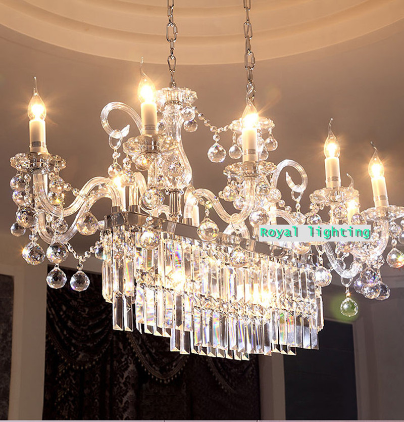 rectangle large led candle chandelier crystal lighting for dining room