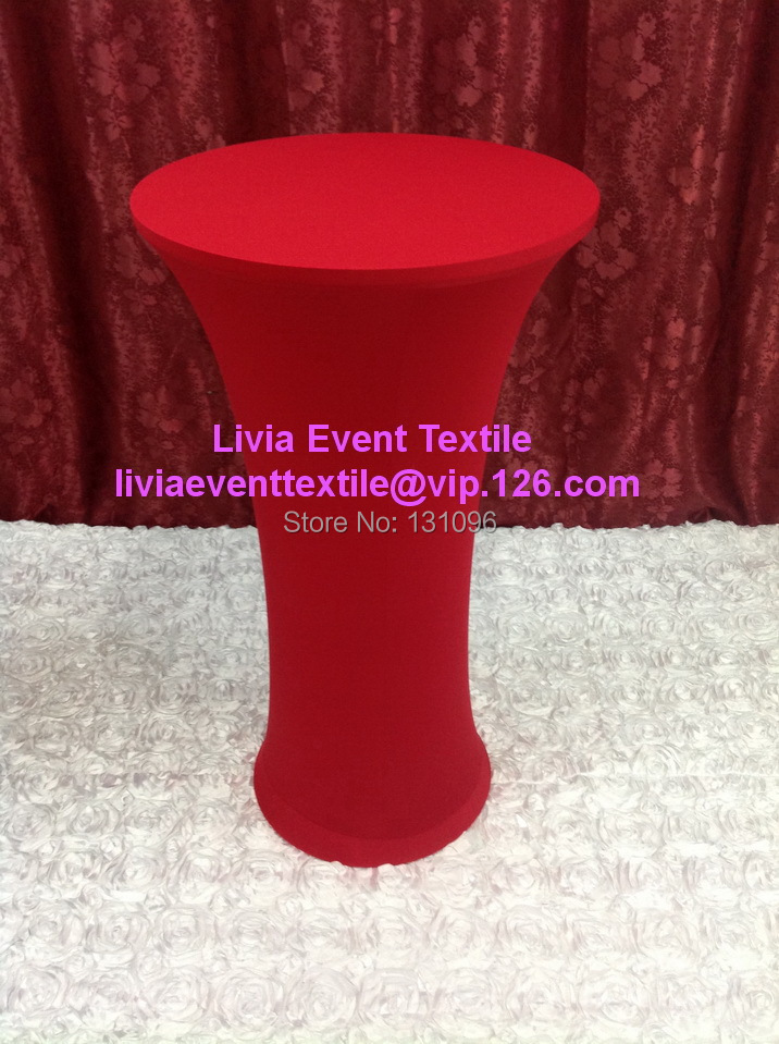 10pcs Extra Thicker #2 Red Round Base Dry Bar Cover,Lycra High Cocktail Table Cover For Wedding Events&Party Decoration(China (Mainland))
