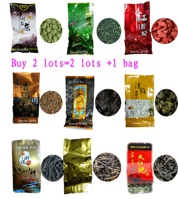 9 Different Flavors Famous Tea Chinese Tea Oolong Green Goji herbal puer Black Tieguanyin Lapsang souchong