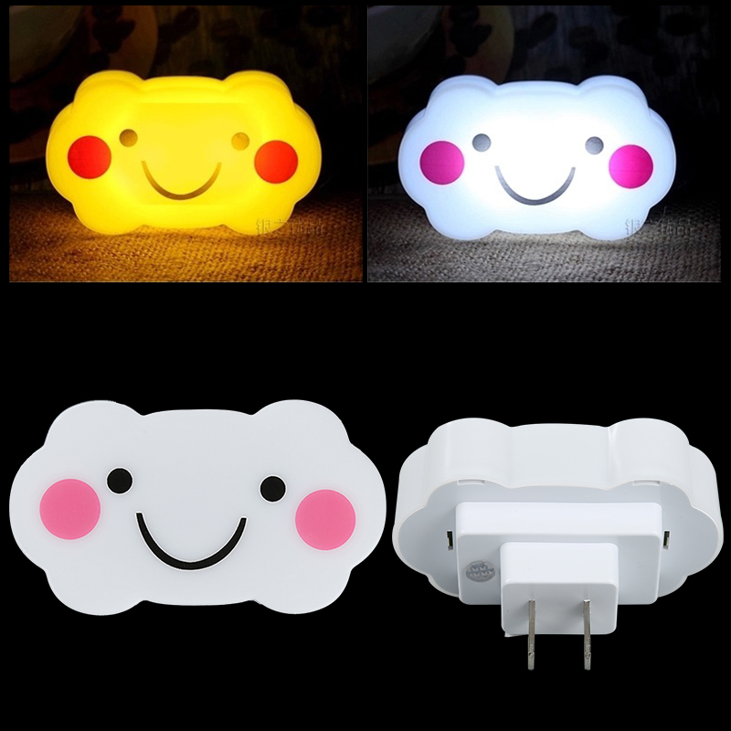 Newest Mini Fashionable Smile Cloud Shape Light Control Electric Lamp LED Night Light White/Yellow Light US Regulations(China (Mainland))