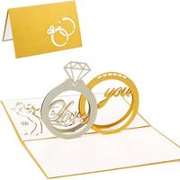 Greeting Card 3D Pop Up Greeting Cards Diamond Ring Birthday Anniversary Wedding Anniversary