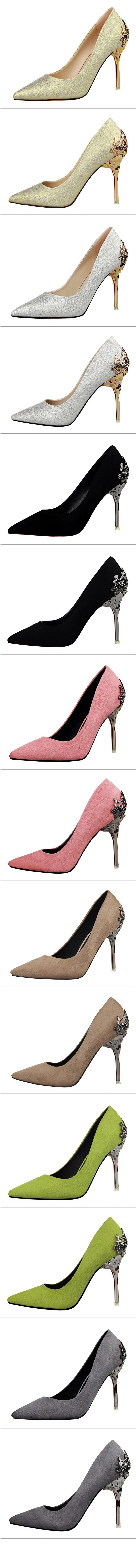 HTB12heVOVXXXXXAapXXq6xXFXXXh - BIGTREE Spring Autumn Scrub women pumps 10 CM Fine high heels metal Hollow Suede Pointed shoes