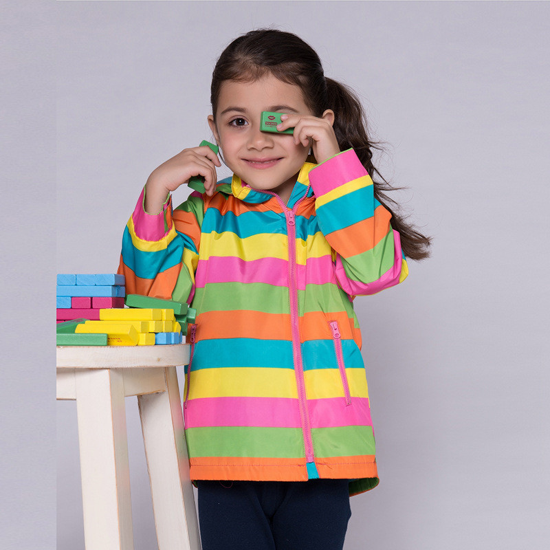 2015 fashion winter style baby girl jackets long sleeve rainbow printed girls jacket long sleeve casual striped hooded outwear <br><br>Aliexpress