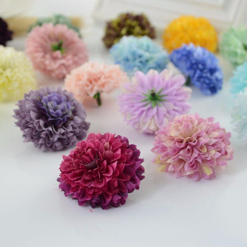 1pcs cheap Silk Carnation Heads artificial flower for home daisy Bridal bouquet wrist  accessories Wedding car Decoration