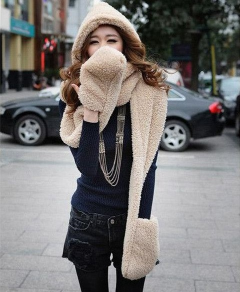 Autumn and winter Warm Thick wool hat female winter leisure female Personality Christmas Multi-function Hat scarf gloves three(China (Mainland))