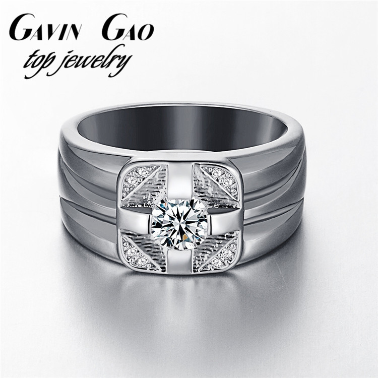 New 2015 Fashion Men Ring Jewelry 18K/Rose/White Gold Plated Delicate AAA+ Cubic Zircon Diamond Finger Ring As Best Friend Gift(China (Mainland))